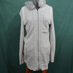 EDDIE BAUER ZIP UP LONG HOODED SWEATER